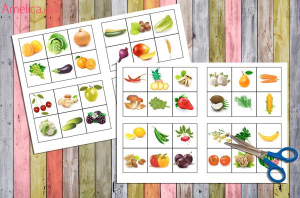 карточки овощи, лото для детей, лото овощи
