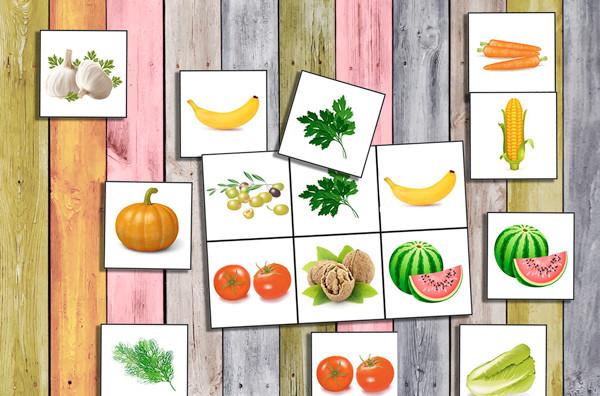 развивающие игры для детей, детская игра про овощи, карточки овощи, лото для детей
