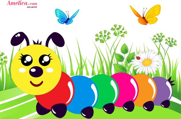 аппликации из цветной бумаги, аппликация гусеница, аппликация в детский сад