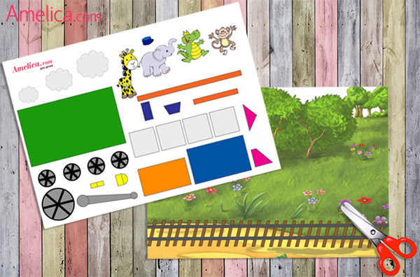 аппликация паровоз из бумаги, аппликация для детей