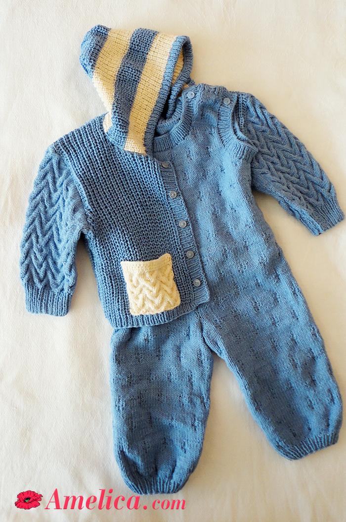 Вязание детский костюмчик до года