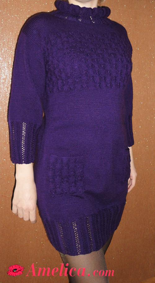 простое вязанное платье спицами для женщин
