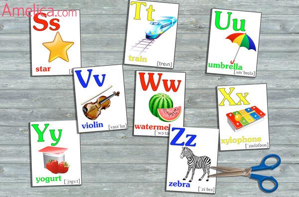 английский алфавит в картинках для детей, английский алфавит для детей распечатать