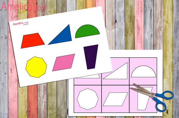 развивающая игра для детей 1,2,3 года скачать, лото изучаем геометрические фигуры, вкладыши для детей