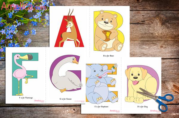 английский алфавит в картинках, карточки животные на английском языке