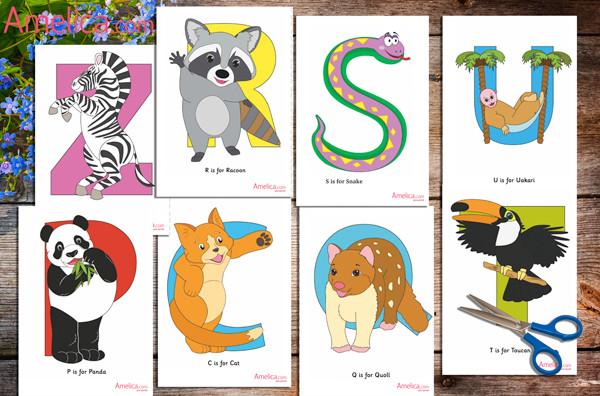 карточки английского алфавита распечатать, английский алфавит в картинках, карточки животные