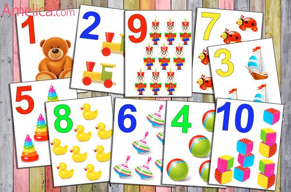 цифры картинки для детей, учимся считать от 1 до 10, карточки цифры