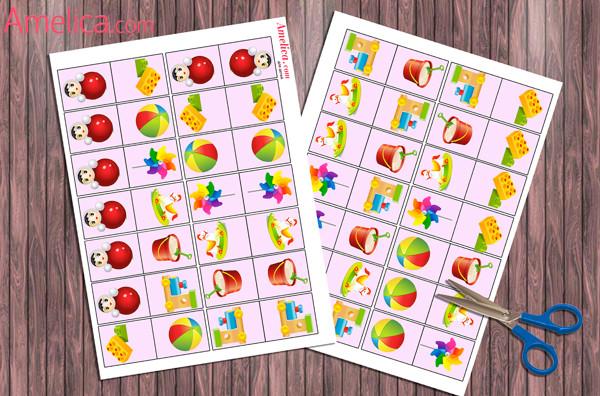 игры детям распечатать, настольные игры своими руками, домино для детей скачать