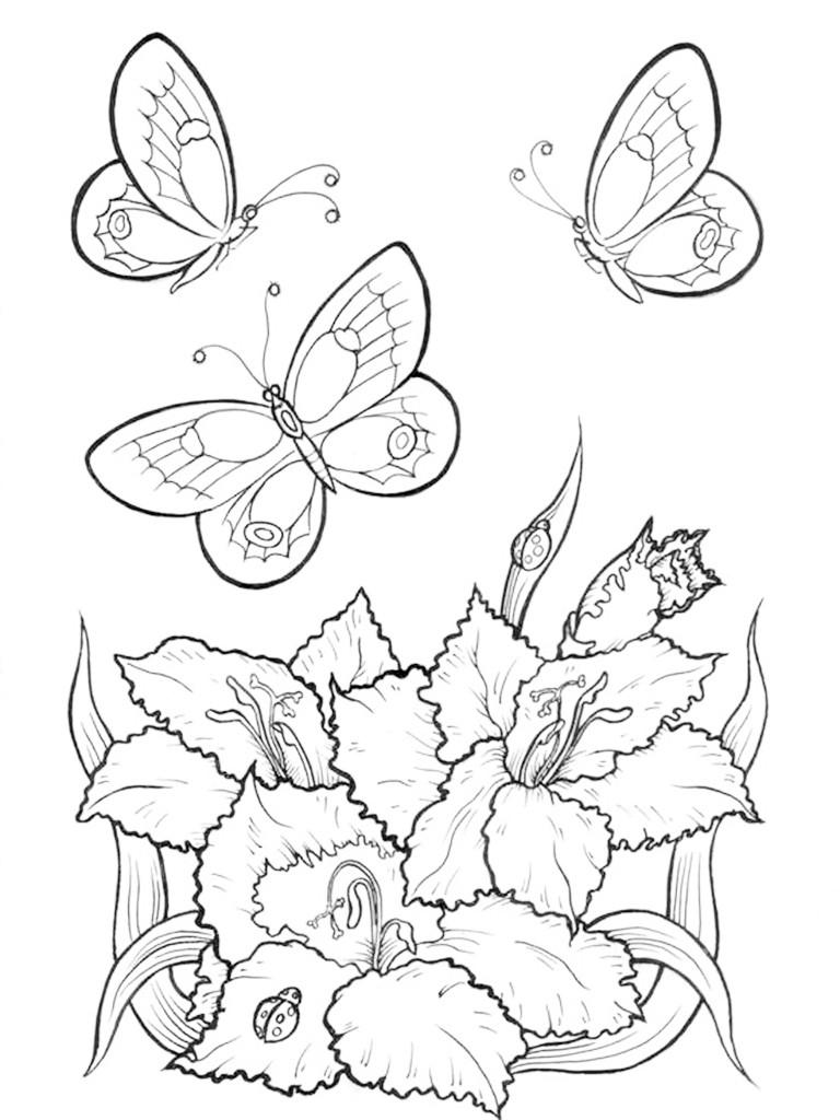 раскраски цветы, раскраски для девочек бесплатно, распечатать для девочек