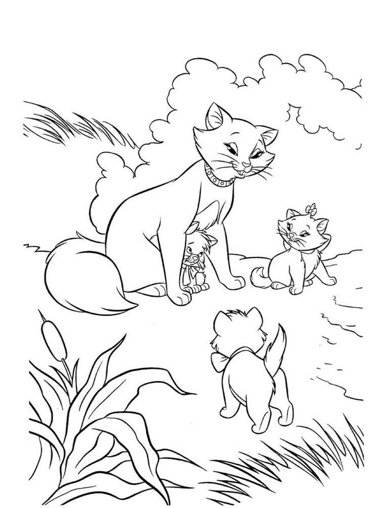 раскраски для девочек, раскраски для девочек бесплатно, раскраски котята, распечатать для девочек