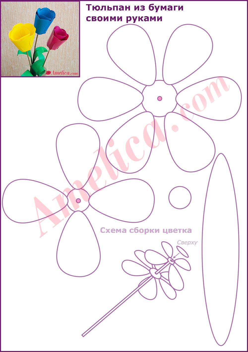 Аппликации из бумаги своими руками схемы шаблоны для детей цветы