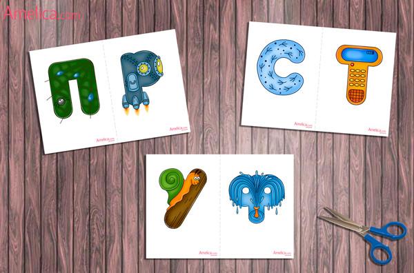 живые буквы в картинках, русский алфавит в картинках