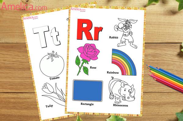 английский алфавит раскраска, алфавит в картинках распечатать