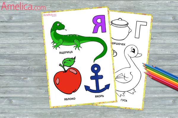 азбука раскраска, азбука в картинка, раскраски распечатать