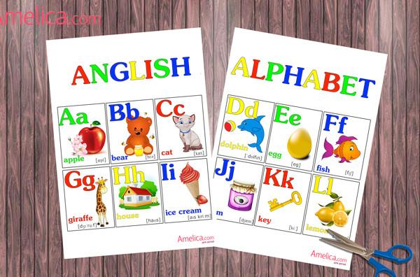 плакат английские буквы распечатать, английский алфавит для дошкольников и первоклассников