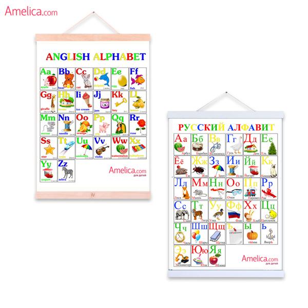 английский алфавит детям в картинках, плакат английские буквы распечатать