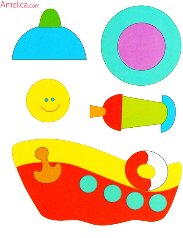 шаблоны аппликации для малышей 2-3 года транспорт
