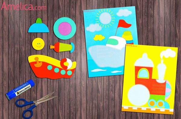аппликация для детей, аппликация для малышей, аппликация для детей 2-3 года