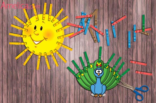 игры с прищепками для детей, шаблоны и картинки для игр с прищепками