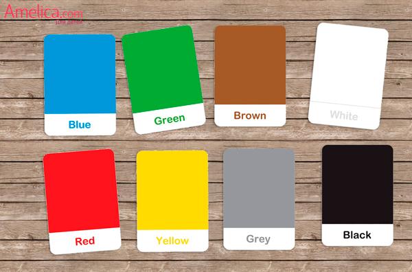 карточки для изучения английских слов, цвета на английском