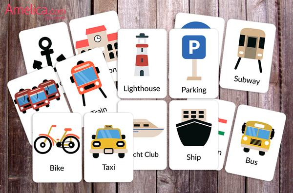учим английские слова, карточки английские транспорт скачать, английские слова для детей