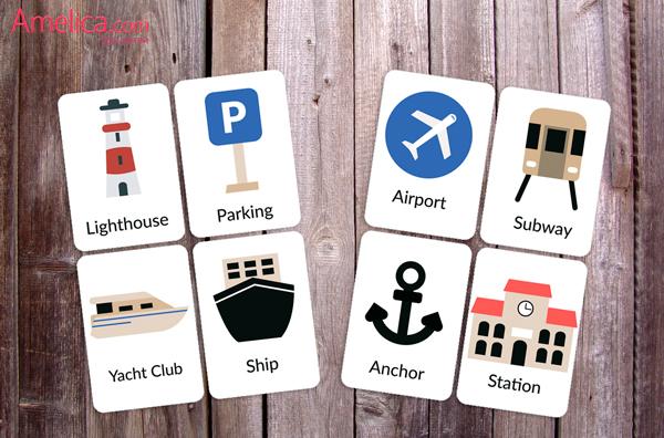 карточки английские транспорт скачать, английские слова для детей