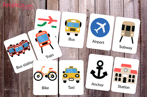 учим английские слова, карточки английские транспорт скачать