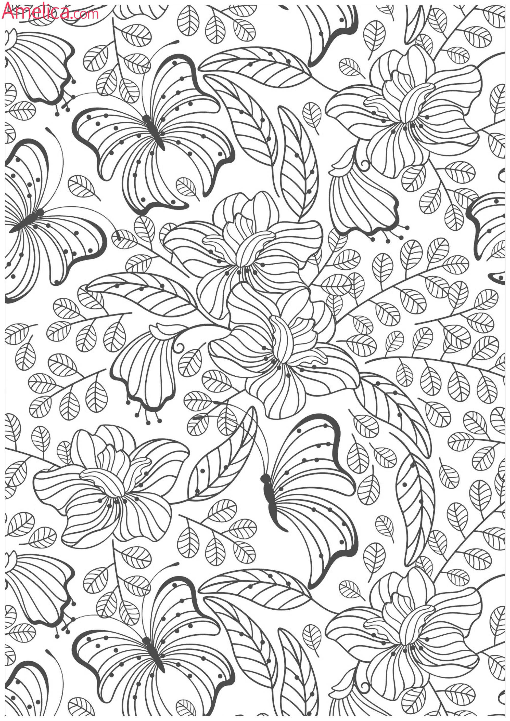 Цветы раскраски сложные