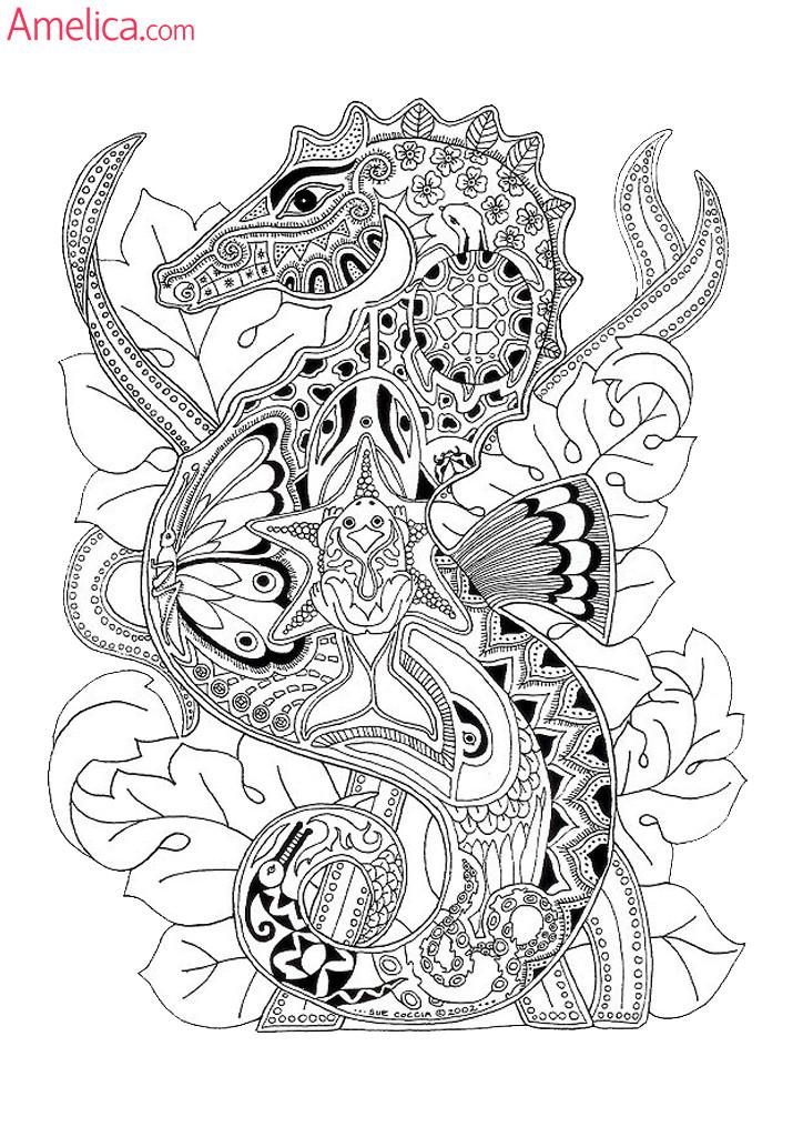 раскраска арт-терапия - морской конек, creative coloring animals