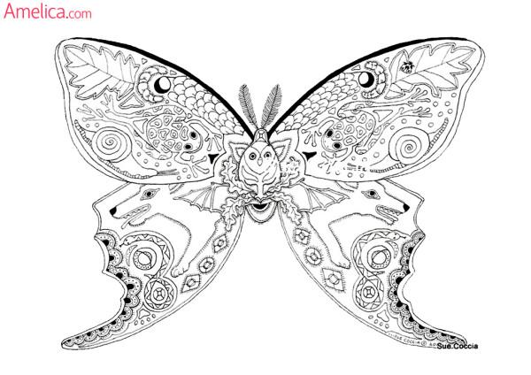 Арт-терапия раскраска - бабочка