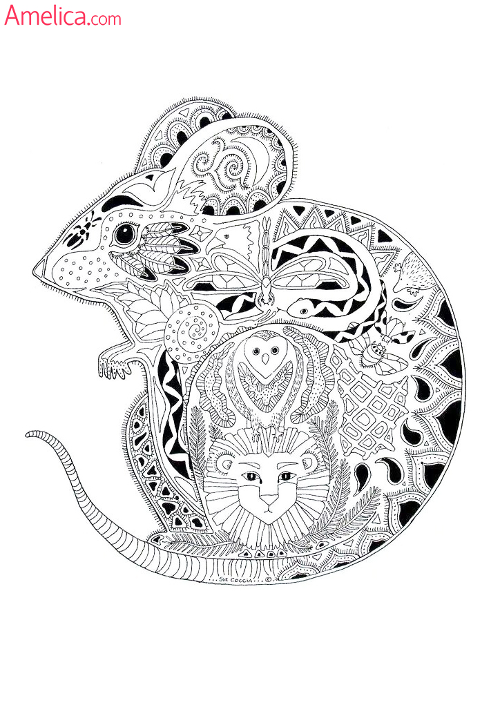 Арт-терапия раскраска - мышь, creative coloring animals