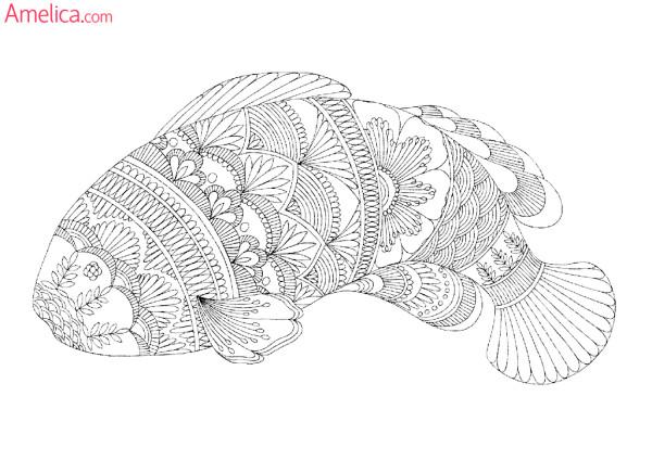 Арт-терапия раскраска - рыба