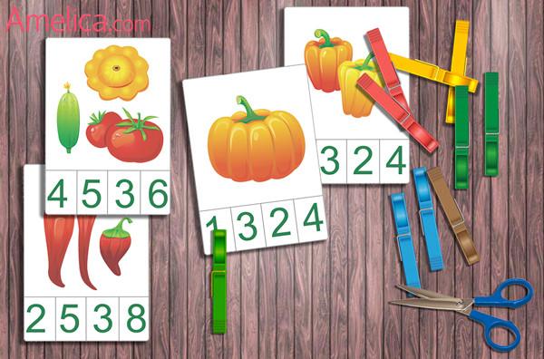 изучаем цифры, дидактические игры, игры с прищепками
