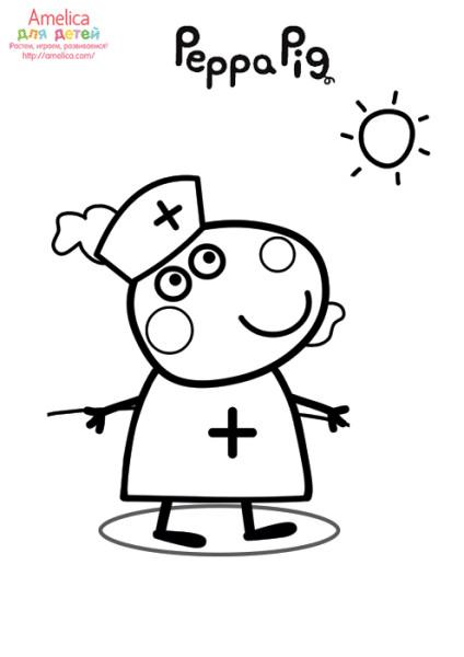 раскраски свинка пеппа распечатать, раскраски для детей, раскраски из мультфильма