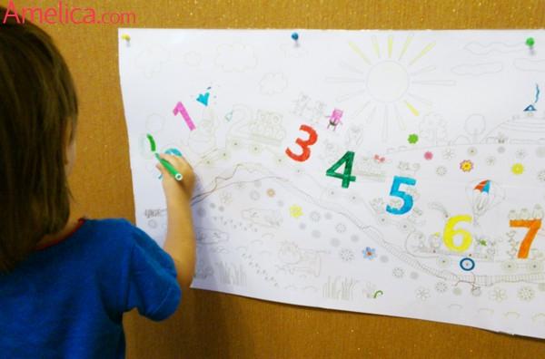 раскраска - плакат, раскраска паровозик, раскраска цифры, раскраска на стену