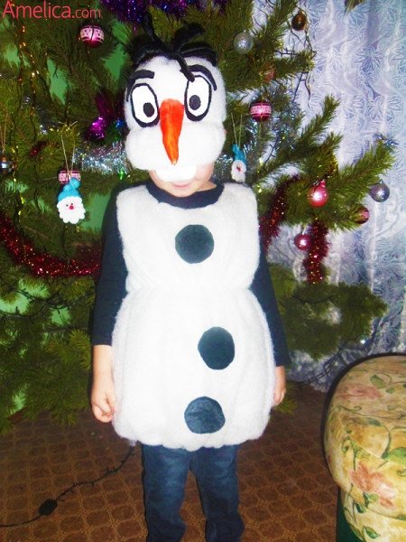 костюм снеговика своими руками, новогодний костюм снеговика