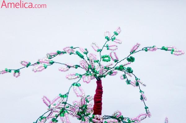 деревья из бисера своими руками, топиарий своими руками