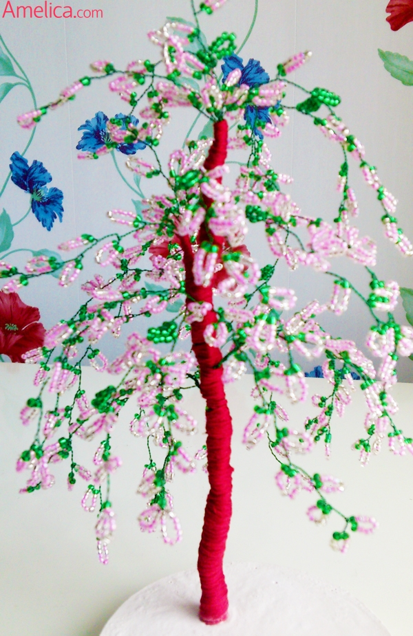 дерево из бисера, деревья из бисер, дерево сакура из бисера