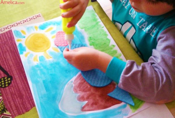 аппликация динозавр, аппликация в детский сад