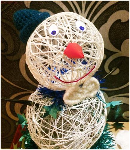 Как сделать снеговика из ниток и воздушного шара