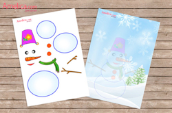аппликация снеговик, аппликации из бумаги, аппликации из цветной бумаги, аппликации для детей