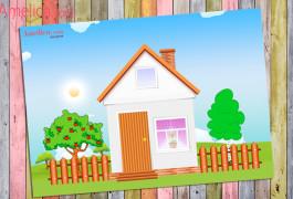 аппликация из бумаги домик, для детей своими руками, аппликация дом, аппликация шаблоны