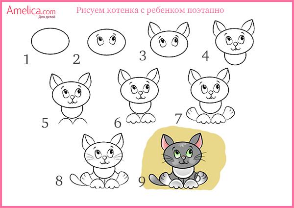 Как рисовать животных для детей 6 лет поэтапно