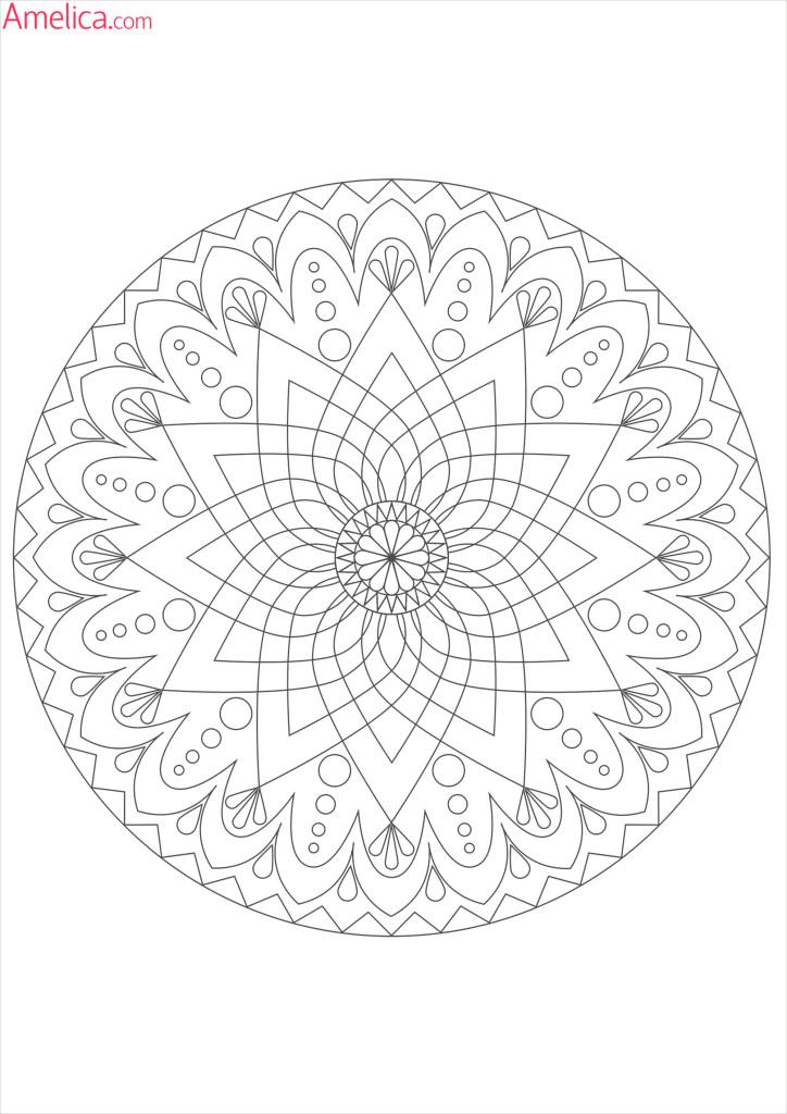 Мандала раскраска — цветок