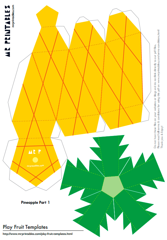 Шаблоны фруктов из бумаги для