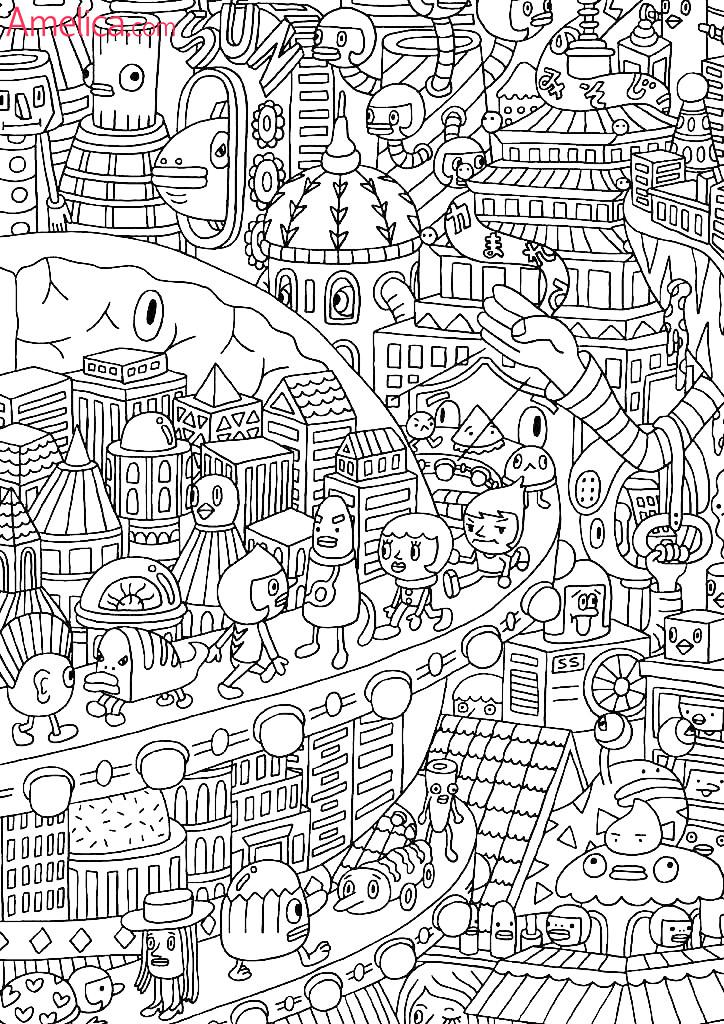 Картинки раскраски город