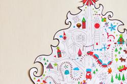 Большая елка, обои -раскраска для детей на стену