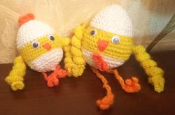 вязаные цыплята крючком, пасхальные цыплят