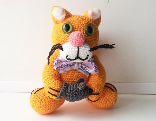 вязаный кот, вязаный кот крючком, вязаный кот крючком схема