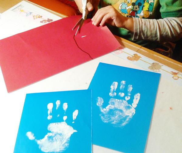 рисование ладошками, рисование ладошками для детей, новогодние поделки своими руками